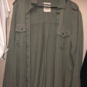 army green boyfriend button up